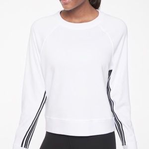 Athleta Sport Stripe White Sweatshirt Crew Neck